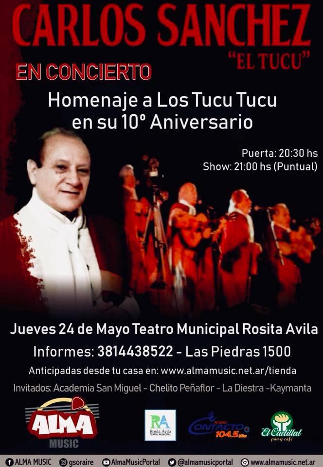 16127f730 Carlos Sánchez realizará un homenaje a Los Tucu Tucu en su 10º ...